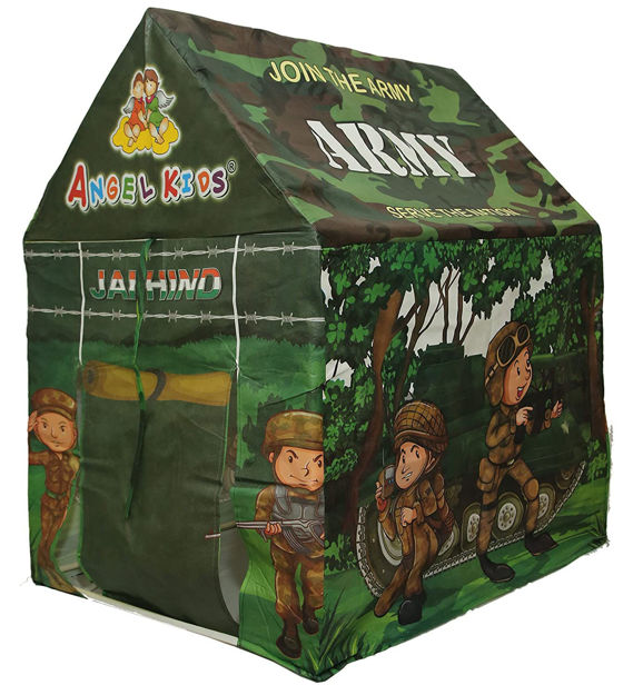 Army Camp With Led Lights, toy Gun, toy Grenade And Army Jacket (Multicolor)  (Green)