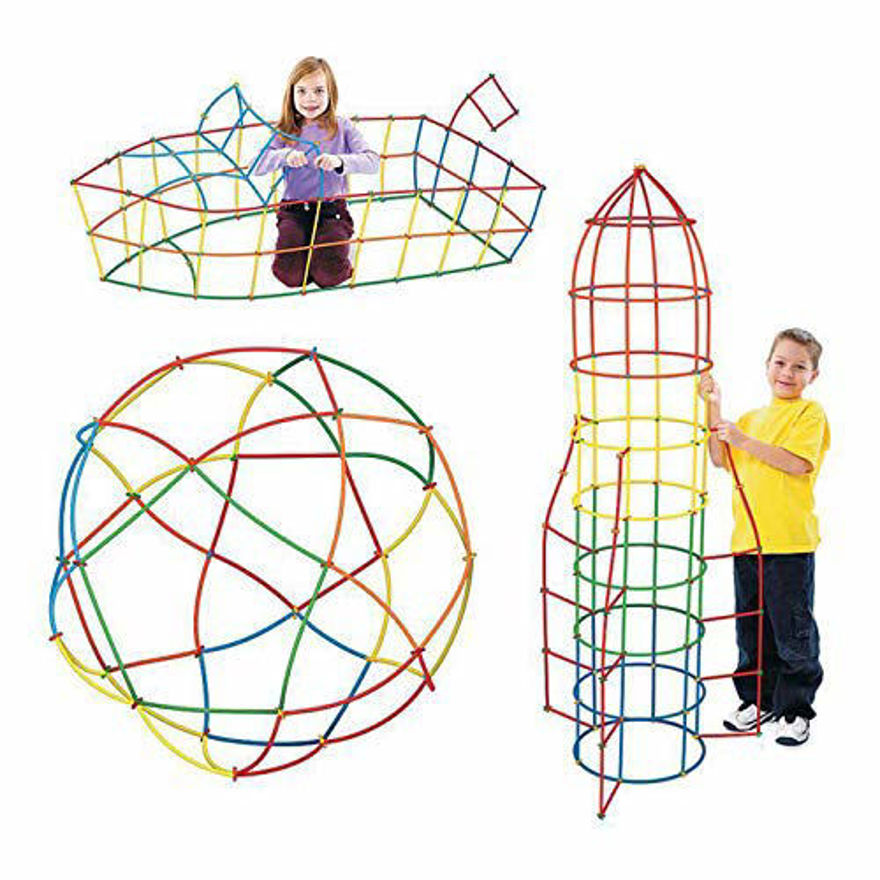 Baby building construction puzzle children's puzzle straw blocks pipette stitching assembly straw build blocks creative toy- Multi color