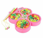 Basics 21 battery operated rotating catching fish game toy for kids (32 fishes) (4 fishing rods) (multi-color) (3+ yr)- Multi color