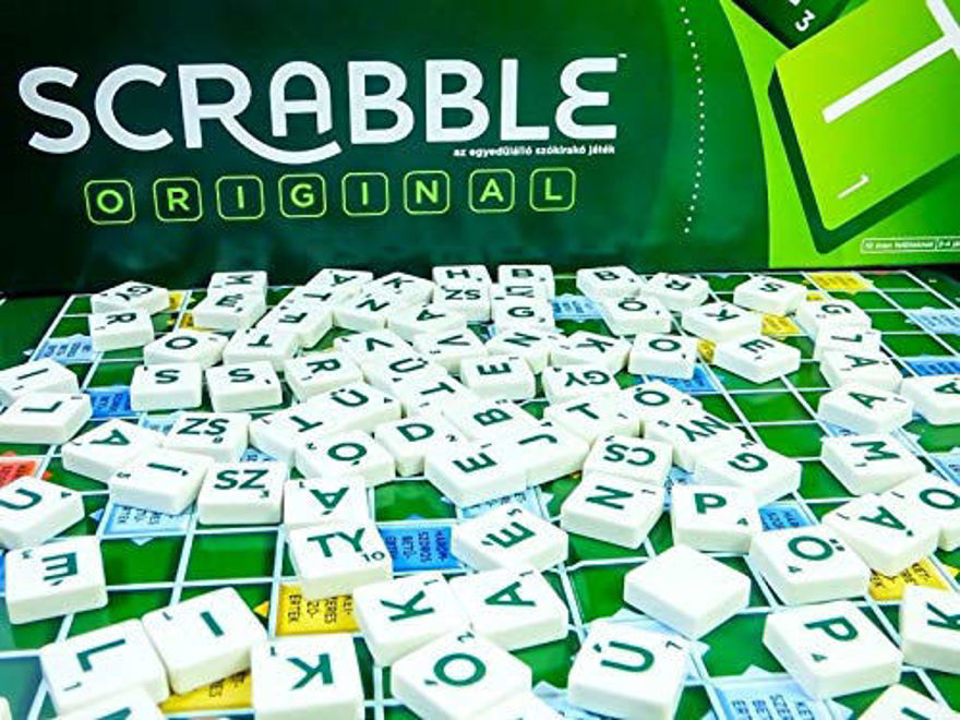 Board Game Children Puzzle Scrabble Play with Family Party.