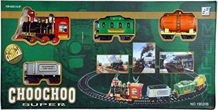 Choo Choo Classical Toy Battery Operated Train Set with Light & Sound | Kids Toy Train Emits Real Smoke Light Sound Track