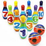 Educational Learning High Quality Soft Foam Colorful Bowling Set for Kids Kit Sports Game Set/Sponge Balling Set for Indoor & Outdoor for Kids Children Multi12 Pcs