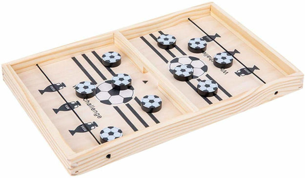Fast Wooden Sling Puck Game, Portable Table Board Game for Kids and Adults, Tabletop Slingshot Games Toys , Desktop Sport All Age Group Hockey Girls Toy