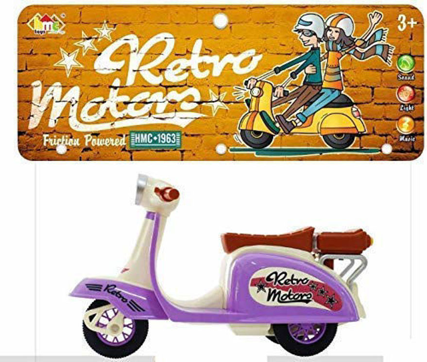 Friction Powered Retro Scooter Toy with Light and Sound Toys Set for Kids(Color and Design May Vary )