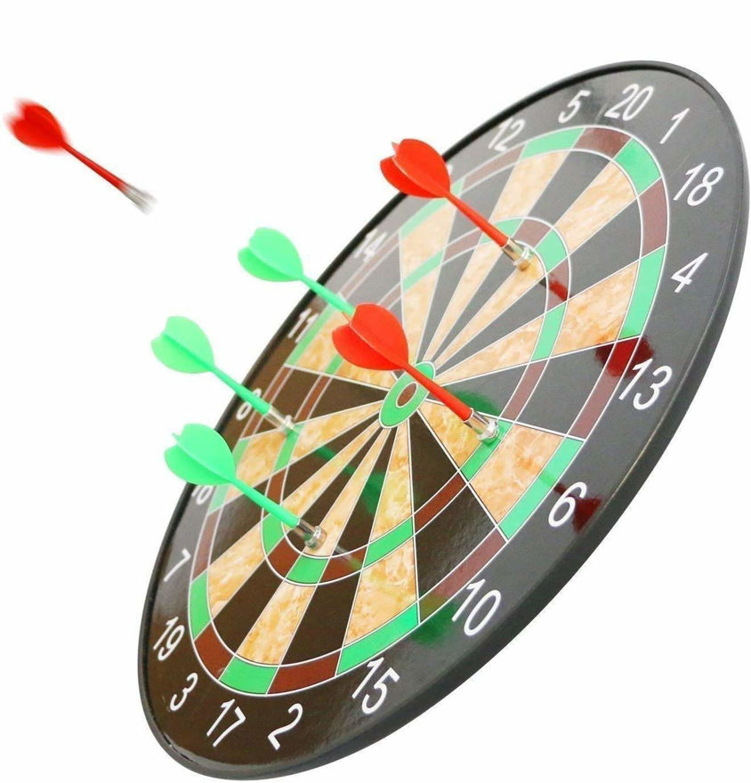 World Indoor and Outdoor Magnetic Score Dartboard Kit with 6 Soft Darts (17 Inch, Multicolour)