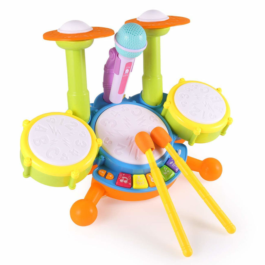 Kids Drum Set, Drum Set for Kids Electric Toys Toddler Musical Instruments Playset Flash Light Toy with Adjustable Microphone, Toys for Boys and Girls
