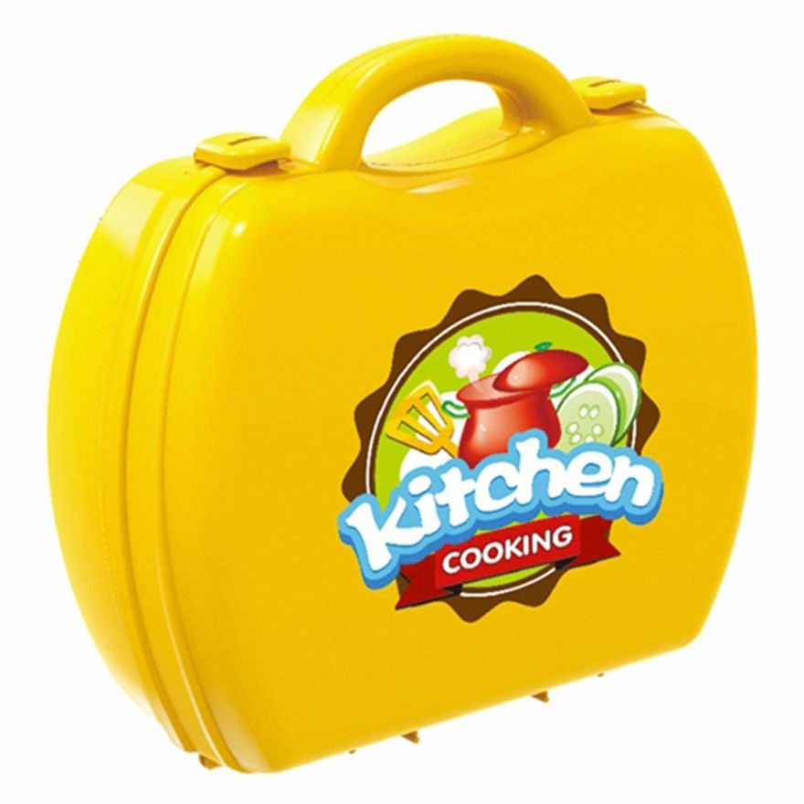 Luxury Portable Suitcase Shape Cooking Pretend Play Kitchen Set for Girls Toys, Accessories, Yellow | Kids Toys for Girls