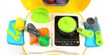 Luxury Portable Suitcase Shape Cooking Pretend Play Kitchen Set for Girls Toys, Accessories, Yellow   Kids Toys for Girls
