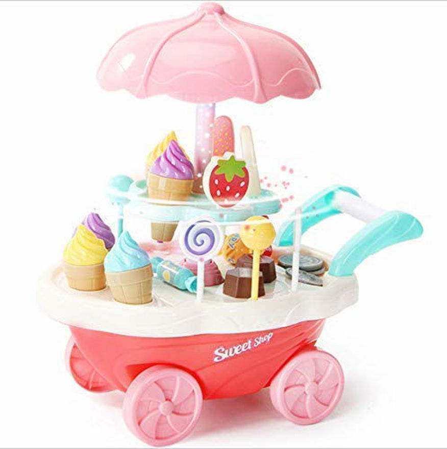 Luxury sweet shopping battery operated 39 pcs ice cream trolley pretend roll plastic play set with led lights and music learning and educational toy for kids (39 pcs)- Multi color