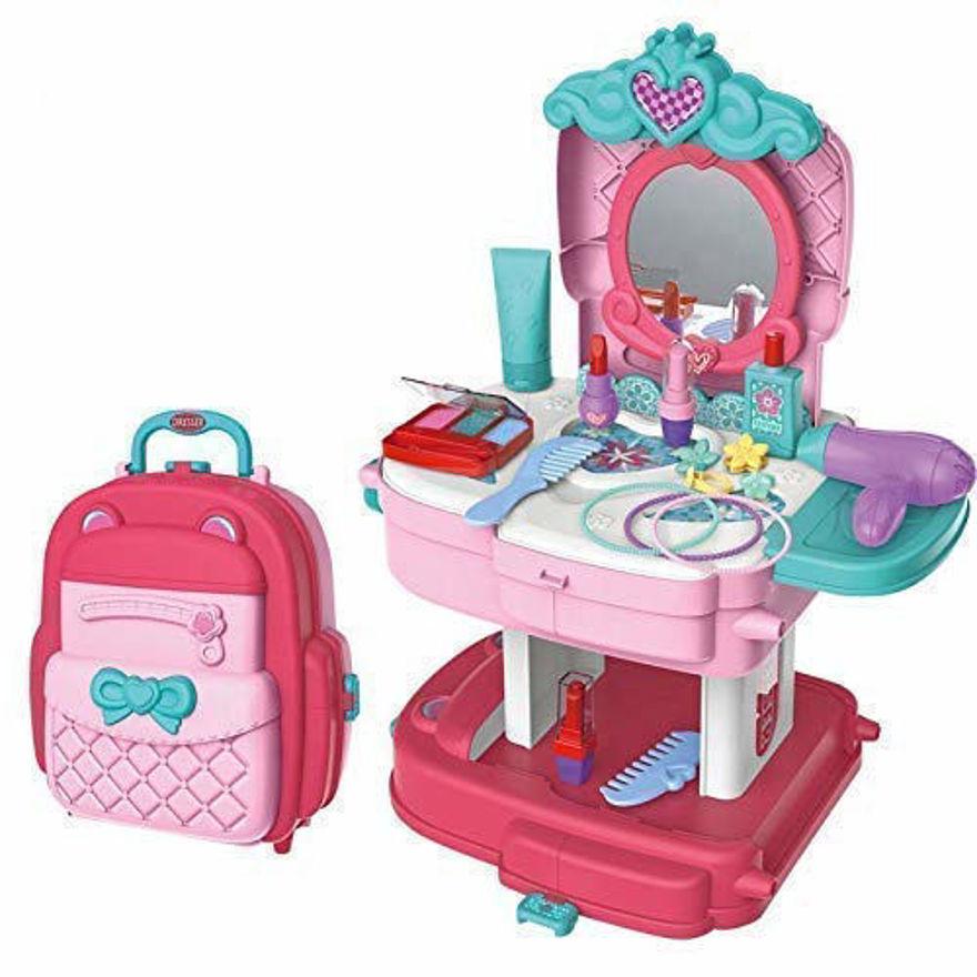 Makeup Set Beauty Makeup & Hair Dressing School Bag Kit 30 Pcs for Kids, Pretend Play Beauty Kids (Beauty Play Set [School Bag])