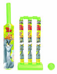 Mini Cricket Set with 1 Plastic Bat and Ball, 3 Wickets, Base and Bail