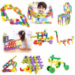 Multi Coloured Educational Play and Learn Plastic Building Block Set Pipes Puzzle Set - Blocks for Kids ( 56 Pieces ) - Blocks Game