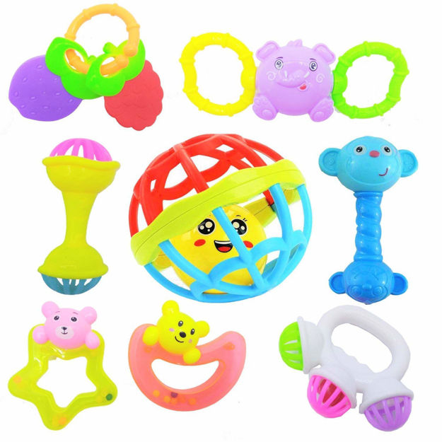 Rattles and Teether for Babies, Set of 8 Pcs - Colourful Lovely Attractive Rattles and Teether for Babies, Toddlers & Children