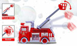 Red Fire Safety Rescue Truck with Emergency Light & Sound. Bubble Blowing Pump and Adjustable Ladder.