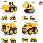 Set of 6 Wheel Metal Construction Trucks Gift Pack Set,Unbreakable Pull Back Friction Powered Engineering Car Construction Vehicle for Kids ,Yellow