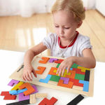Wood Intelligence Brain Games Building Blocks 40 Pcs Educational Toy, Childrens Puzzle Board Game for Ages 3 + Boys Girls