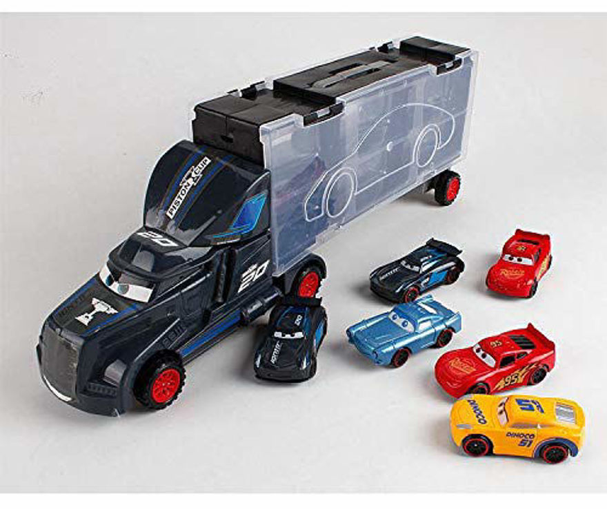Vila Big Transporter Storage Parking Truck with 6 Metal Alloy Minicars and Ejection Racing Track Car Launcher for Boys and Girls Birthday Gift