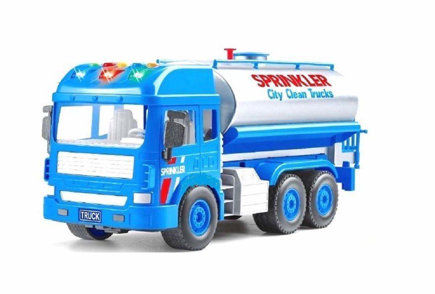 Water sprinkler truck toy for clean city with water spray and light & sound effects pull back vehicles big size tanker truck for kids- Multi color