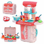 3 in 1 pretend to play little chef's kitchen set with portable suitcase design | kitchen set for girls - 19 pcs (pink)- Multi color
