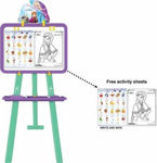 5 in 1 Double-Sided Plastic Adjustable Height Multifunctional White and Black Writing Board for Kids. (5 in 1 Frozen Easel Board)
