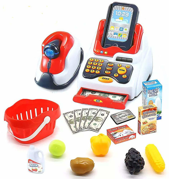 Cash Register Pretend Play Toy with Action, Sound, Scanner,Fruit Vending Machine and Accessories, Small