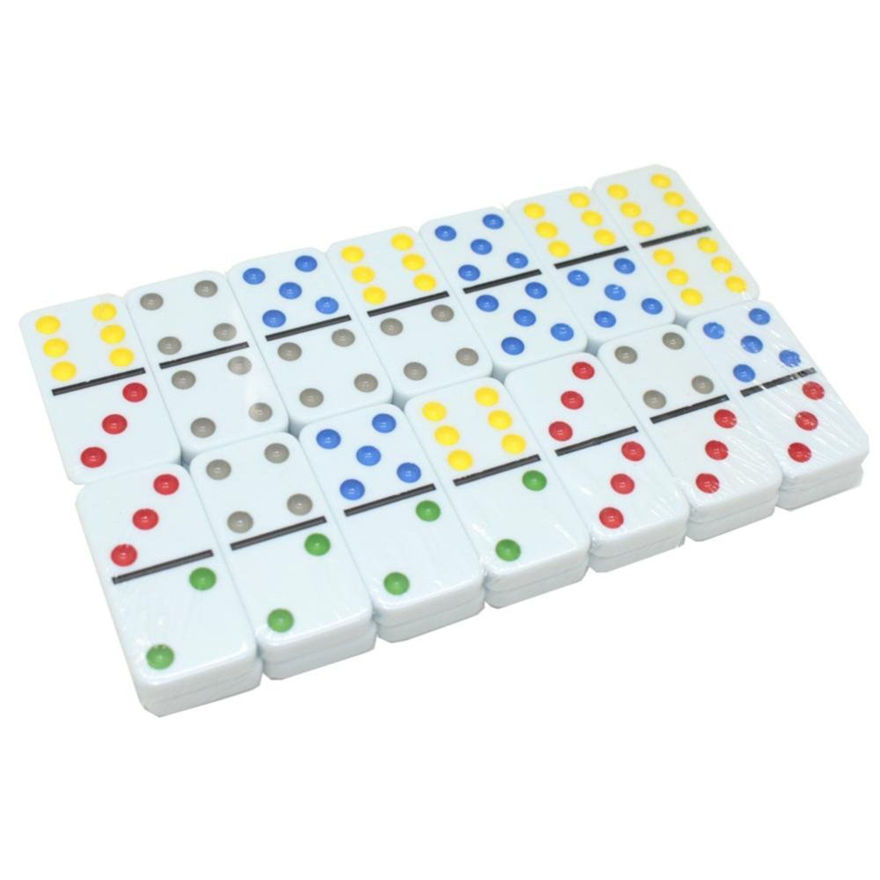 Double Six Color Dot Domino Set with Metal Tin Case, Set of 28