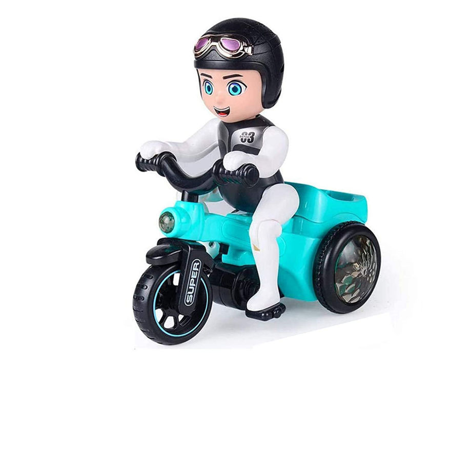 Electric Stunt Bicycle Tricycle Toy 360 Degree Rotating Automatic with 4D Dancing Lights Battery Powered Best Gift for Kids Baby & Toddlers ( Colour May Vary)