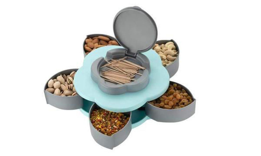 Picture of Compartments Flower Candy Box Serving Rotating Tray Dry Fruit, Candy, Chocolate, Snacks Storage Box With Mobile Phone Stand