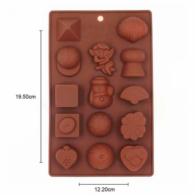 Picture of Silicone Chocolate Molds Reusable Multi Shape 14 Cavity Candy Baking Mold
