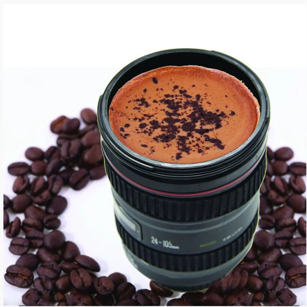 Picture of Camera Lens Shaped Coffee Mug Flask With Lid