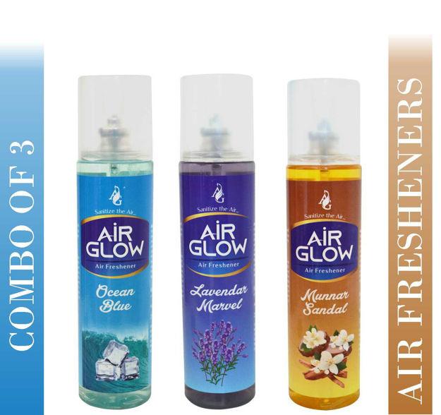 AirGlow Home & Car Fresheners- Lavender & Sandal & Oceanblue Spray  (200 ml)