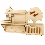 Picture of Wooden Sweet Home Key Holder with 5 Hooks And Charging Purpose Mobile Stand