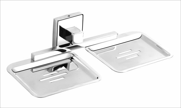 Picture of 304 Stainless Steel Chrome Finish Double Soap Dish Soap Case Soap Holder Double Soap Stands Bathroom Accessories Anti Rust MR