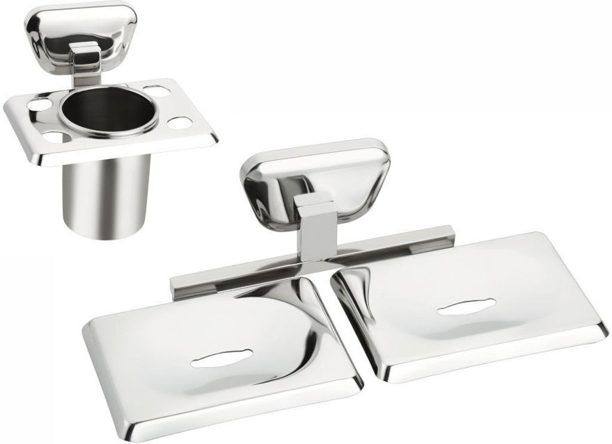 Picture of 2 Pieces Bathroom Accessories(1-Tumbler Holder,1-Double Soap Dish)-Briza Series