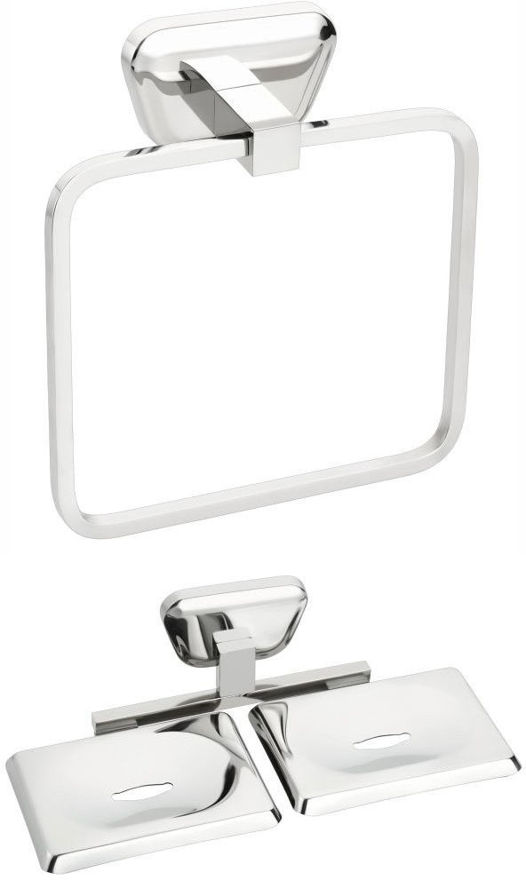 Picture of 2 Pieces Bathroom Accessories(1-Towel Ring,1-Double Soap Dish)-