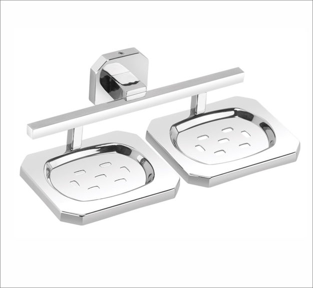 Picture of 304 Stainless Steel Chrome Finish Double Soap Dish Soap Case Soap Holder Double Soap Stands Bathroom Accessories Anti Rust IG