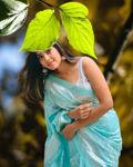 Picture of Women's Designer Aqua Blue Jacquard Soft Silk Saree for Party-wear, wedding, casual Banarasi Saree for Women