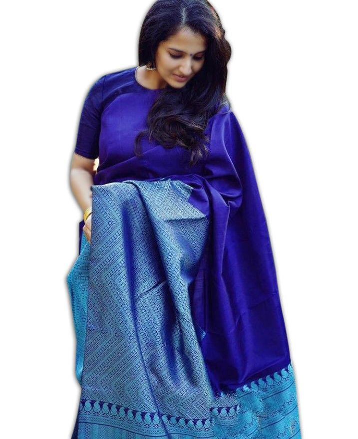 Picture of Women's Beautiful Blue Jacquard Soft Silk Designer Saree for Party-wear, wedding, casual Banarasi Saree for Women