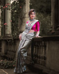 Picture of Women's Designer Traditional Pure Jacquard Soft Silk Banarasi Saree with Pink Attached Blouse (Grey, Silver)