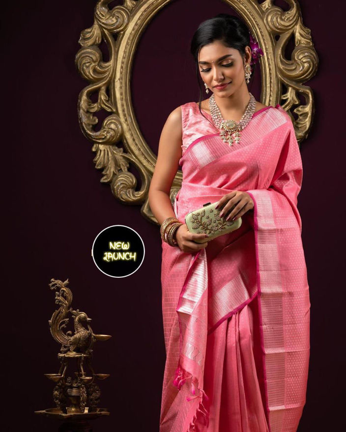 Picture of Women's Designer Kundan Archaic Traditional Kanchi Soft Silk Sari With Matching Attached Blouse(Pink)