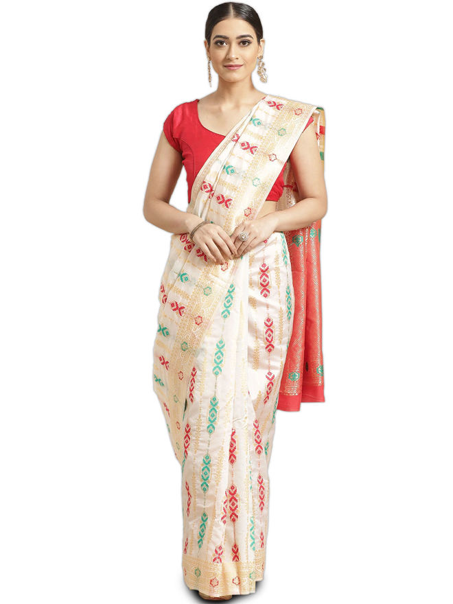 Picture of Women's Designer Off-White & Red Pure Silk Zari Woven Design Saree for Party-wear, wedding, casual Banarasi Silk Saree for Women
