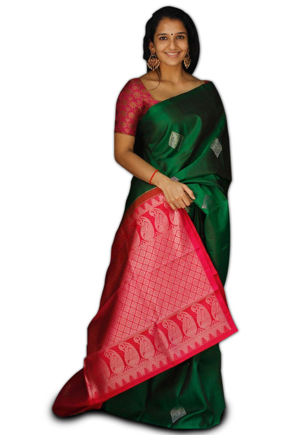 Picture of Women's Beautiful Green and Red Jacquard Soft Silk Designer Saree for Party-wear, wedding, casual Banarasi Saree for Women