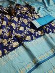 Picture of Women's Beautiful Blue and Golden Jacquard Soft Silk Designer Saree for Party-wear, wedding, casual Banarasi Saree for Women