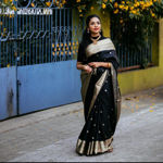 Picture of Women's Beautiful Black and Gold Jacquard Soft Silk Designer Saree for Party-wear, wedding, casual Banarasi Saree for Women