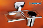 Picture of Stainless Steel Chrome Soap Dish With Toothbrush Holder Tumbler Holder Toothbrush Stand Tumbler stand Bathroom Accessories BZ