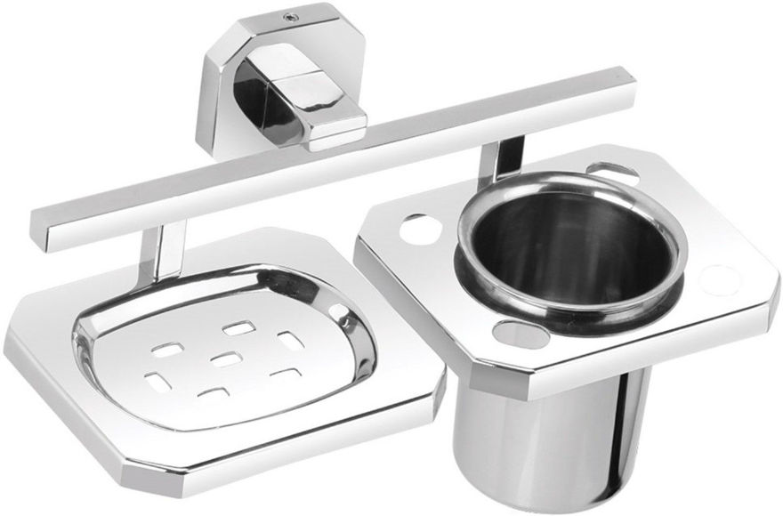 Picture of 304 Stainless Steel Chrome Soap Dish With Toothbrush Holder Tumbler Holder Toothbrush Stand Tumbler stand Bathroom Accessories IG
