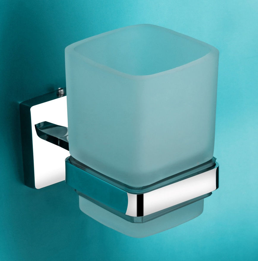 Picture of 304 Stainless Steel and glass Chrome Toothbrush Holder Tumbler Holder Toothbrush Stand Tumbler stand Bathroom Accessories Anti Rust LX