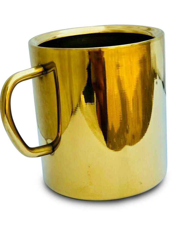 Picture of Gold PVD Coating Stainless Steel Double Walled Coffee Mug Set with Multi Design / Steel Coffee Mug / BPA Free (Gold - 275ML, 2 Pcs)
