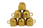 Picture of Gold Stainless Steel Double Walled Tea/Coffee Cup Set with Multi Design / Steel Tea Cup / Mug / Cup (Gold - 110ML, 6 Pcs)
