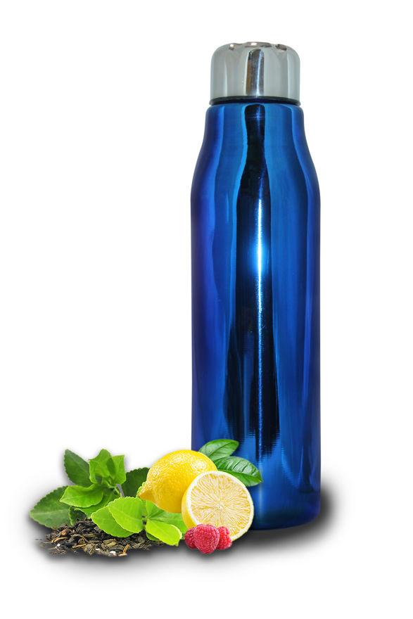 Picture of Single Walled Stainless Steel Fridge Water Bottle | PVD Coating Blue Water Bottle for Kids, Office, Gym, School | Water Bottle Leak Proof and Light Weight Water Bottle, Blue (900 ML)